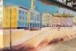 У парку «Жовтневому» з'явився мурал із зображенням Центральної площі (Фото)