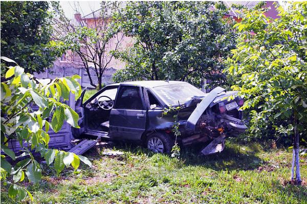 На Буковині автівка збила дерево та протаранила бетонний паркан (Фото)