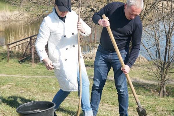Мер Чернівців Роман Клічук разом із дружиною висаджує дерева у рамках соціального проєкту